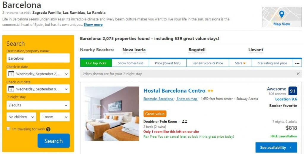 Booking.com travel deals for where to stay.
