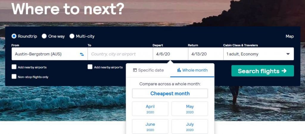Skyscanners compare by month vacation pricing
