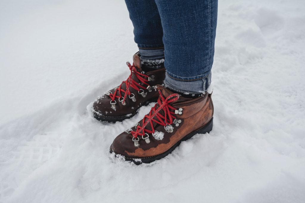 wearing jeans and hiking in the snow